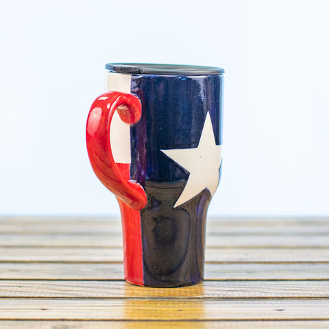 Travel Mug with Texas Design and Travel Top