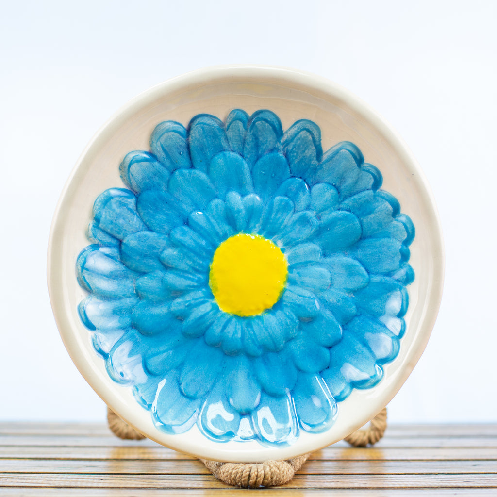 Bowl with Blue Gerber Daisy Design