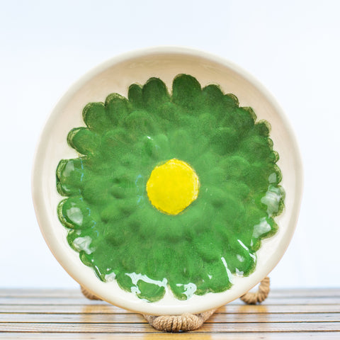 Bowl with Green Gerber Daisy Design