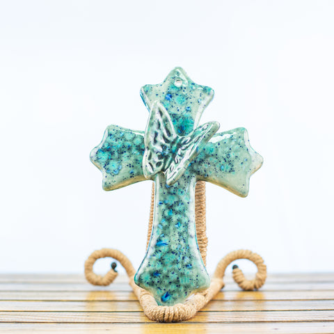 Teal Cross with Butterfly
