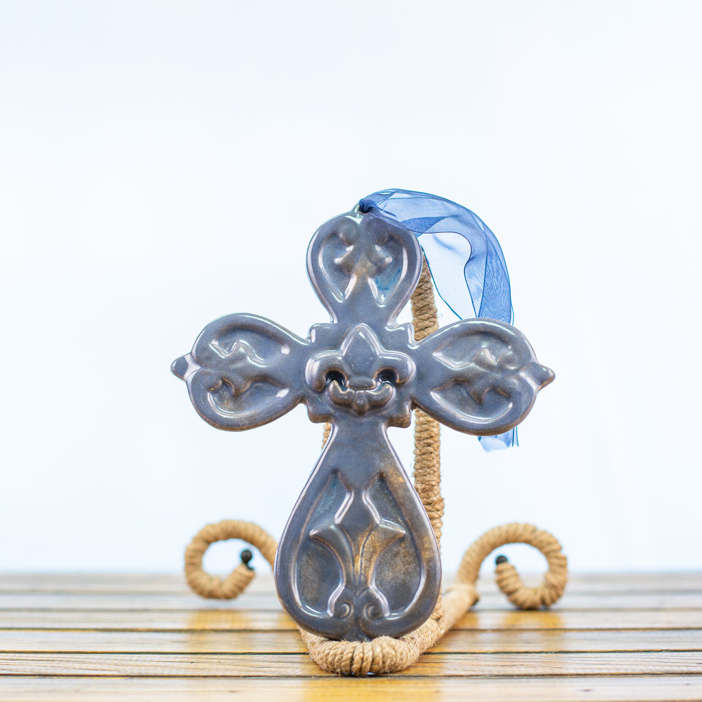 Cross with Fleur-de-lis