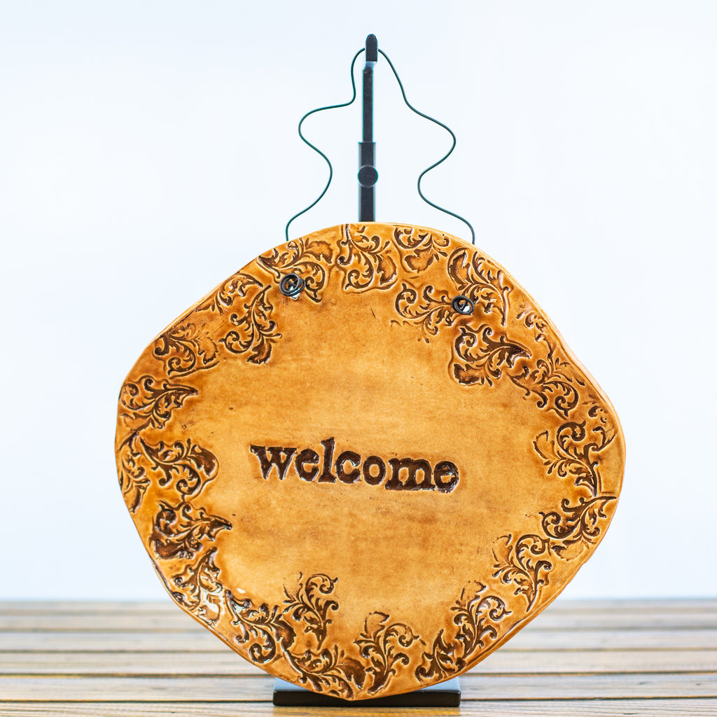 Tan Hangable Ceramic Plaque with Welcome