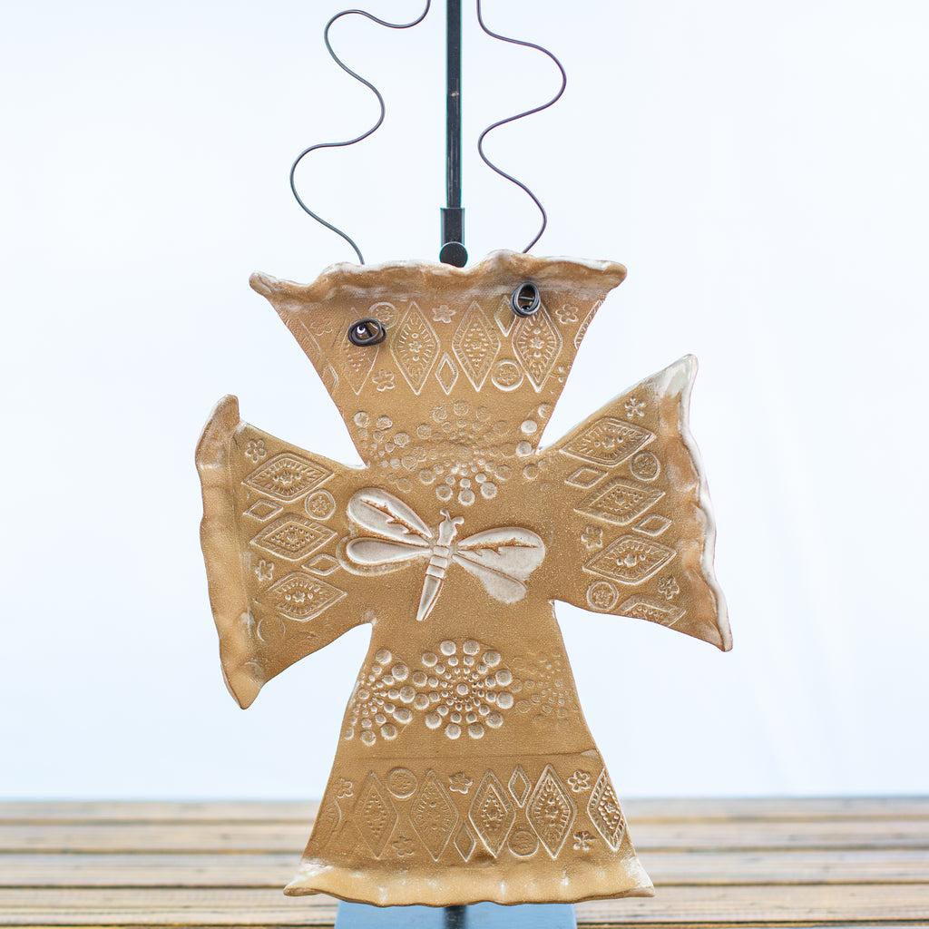 Ceramic Hangable Plaque Cross with Dragonfly Design