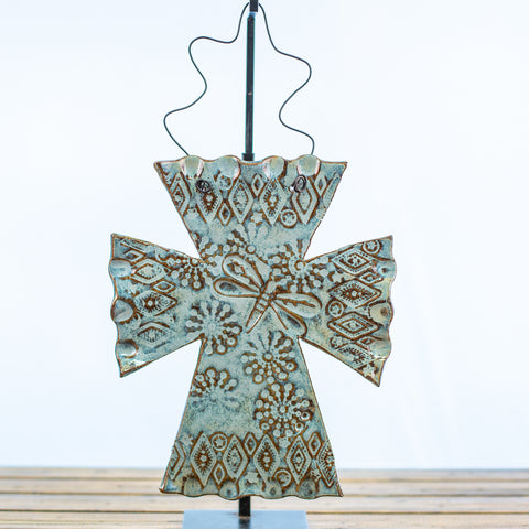 Blue Ceramic Hangable Cross with Dragonfly Design