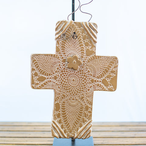 Brown Ceramic Cross with Doily