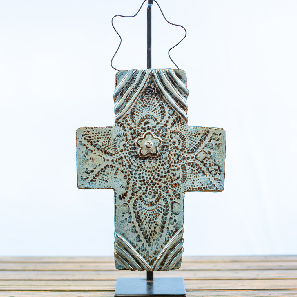Blue Stonecast Cross with Doily