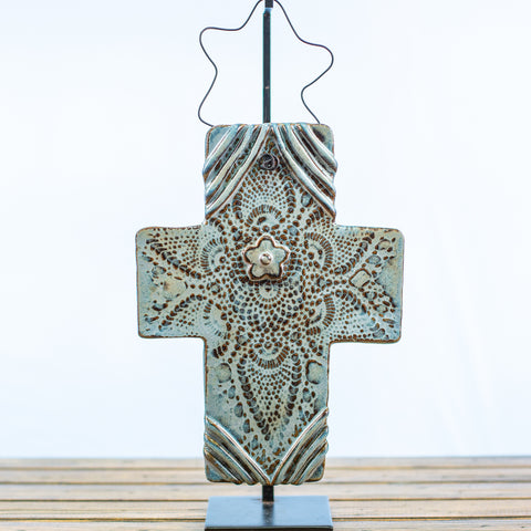 Blue Ceramic Cross with Doily