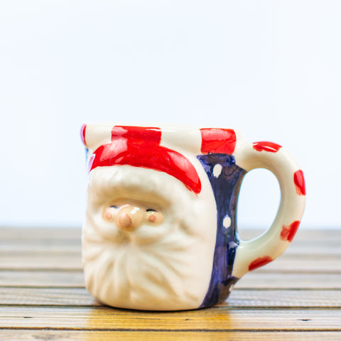Blue Mug with Santa Face Design
