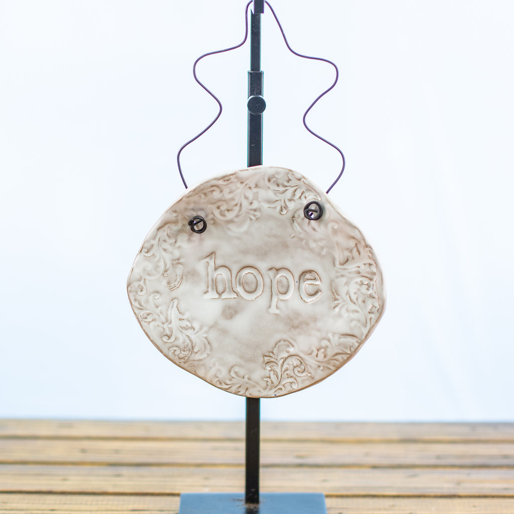 Small White Hangable Stonecast Plaque with Hope