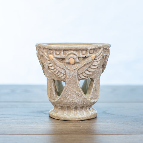 Angel and Cross Candle holder votive in Driftwood