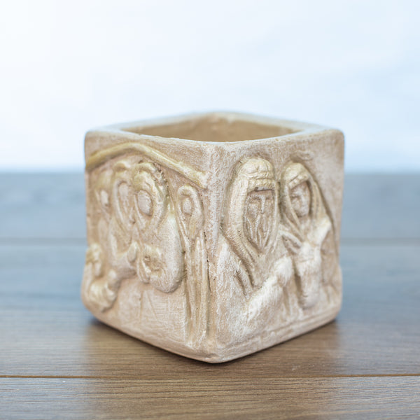 Nativity square candle holder in Driftwood color
