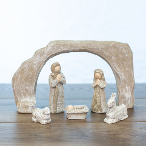 Nativity Scene 6 pieces Driftwood