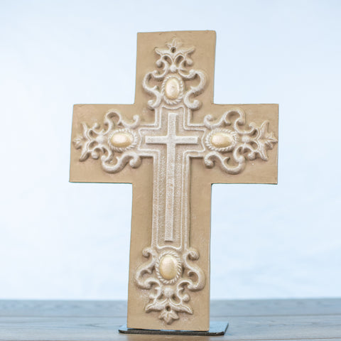 Driftwood Mission Cross with Embellishment