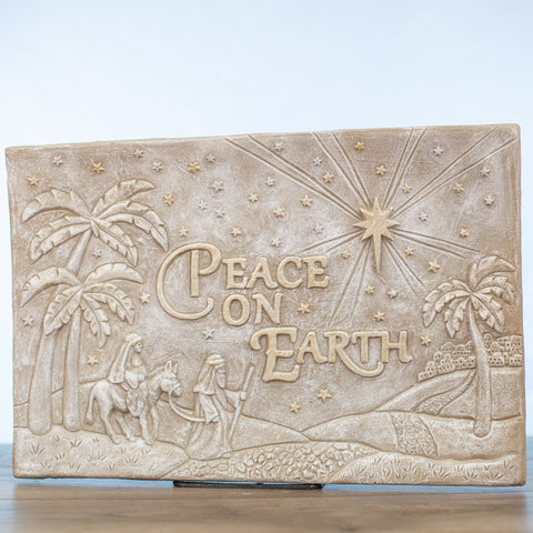 Peace On Earth Nativity Scene Plaque