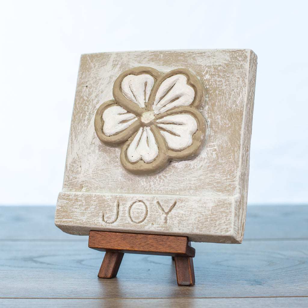 "Decorative Tile with ""Joy"" in Driftwood"