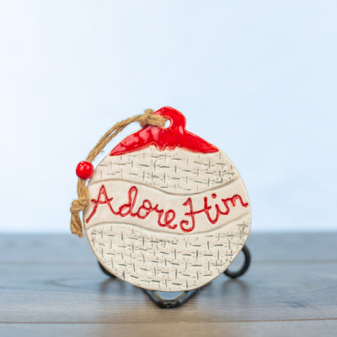 Adore him Ornament Small Plaid Design