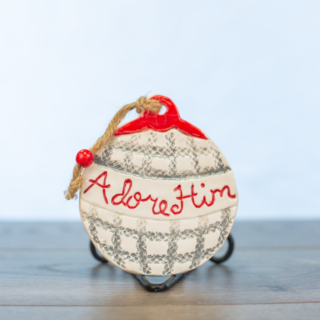 Adore him Ornament Large Plaid Design - Red