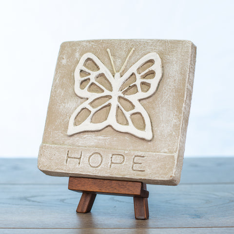 "Decorative Tile with ""Hope"" in Driftwood"