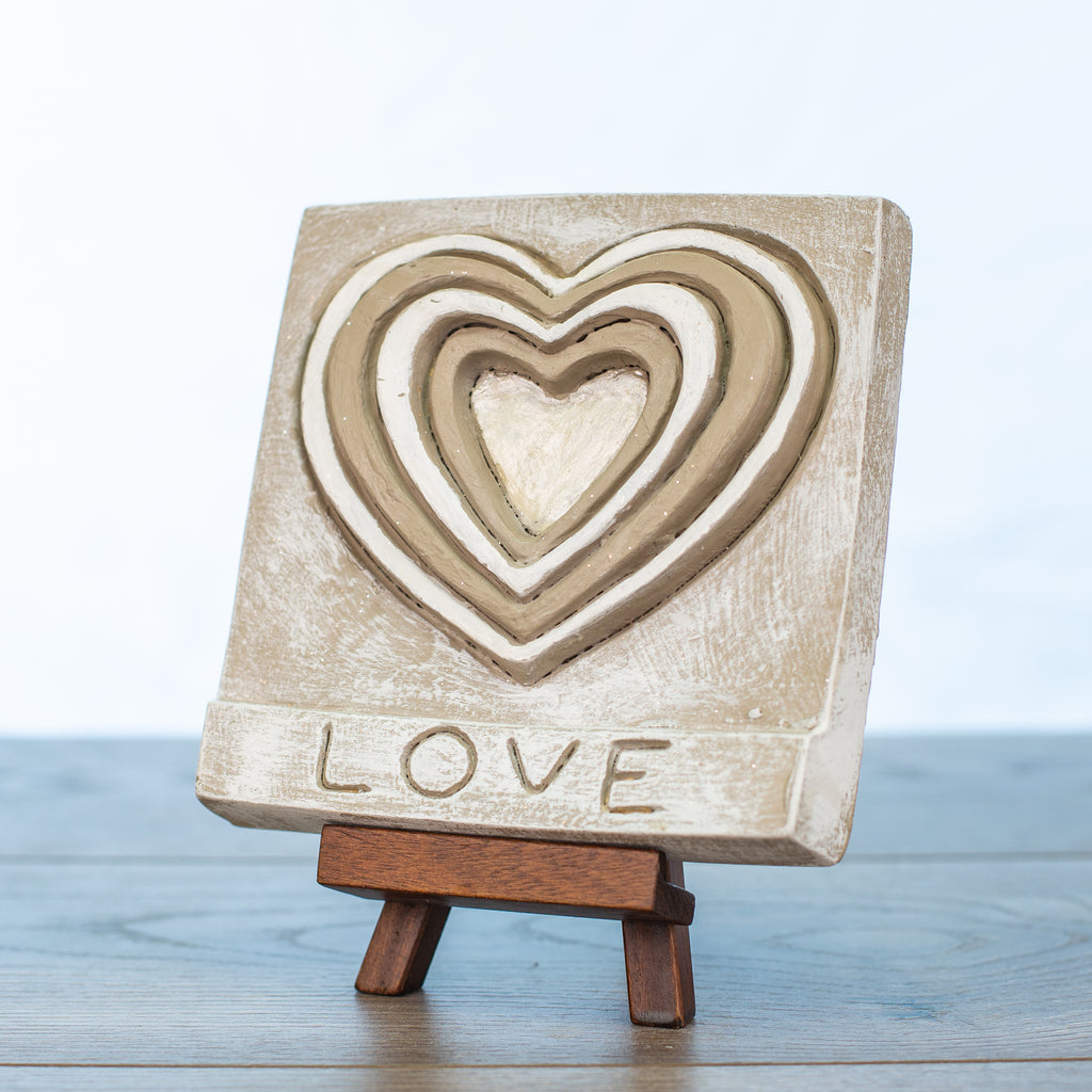 "Decorative Tile with ""Love"" in Driftwood"