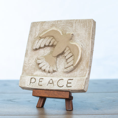 "Decorative Tile with ""Peace"" in Driftwood"
