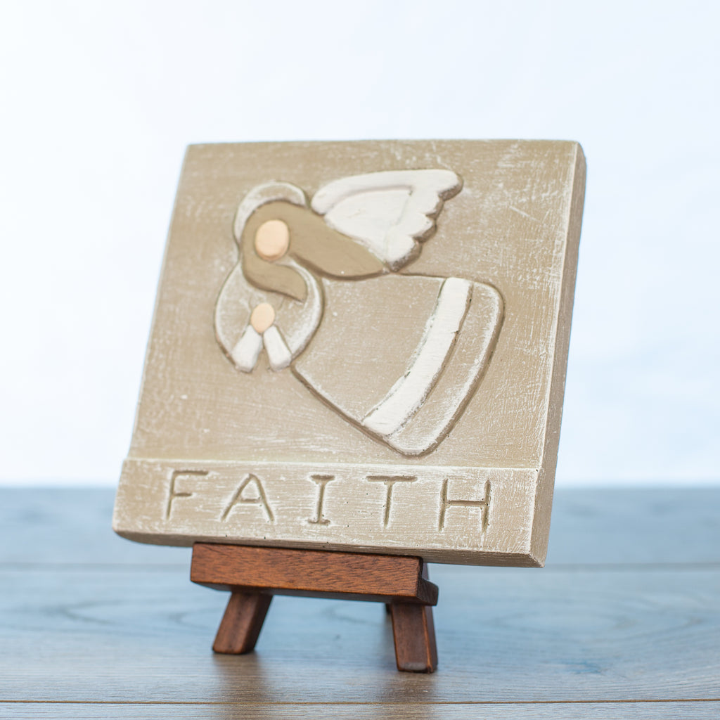 "Decorative Tile with ""Faith"" in Driftwood"