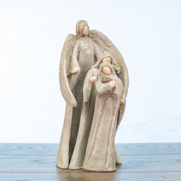 Holy Family Nativity 3 piece Large in Driftwood Colors