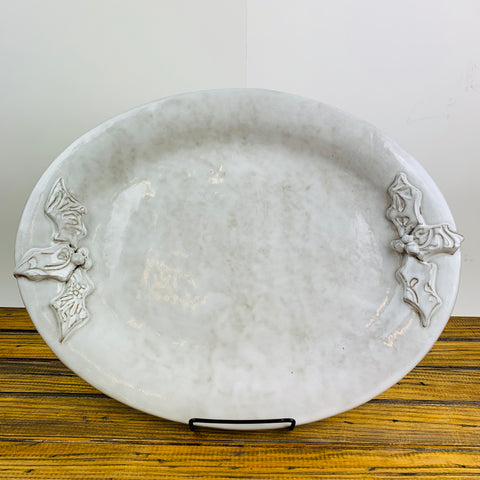 Ceramic Glazed Platter Oval holly