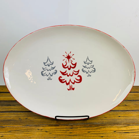 Platter Red Edge with Christmas Trees