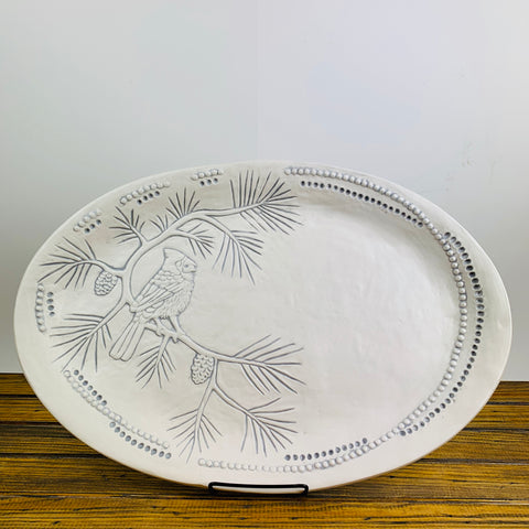 Ceramic Glazed Platter with Gray Cardinal