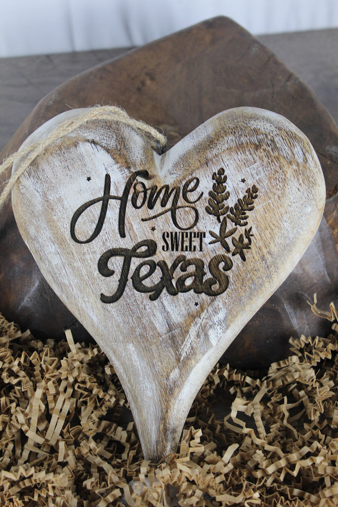 Wooden Hangable Heart Home Sweet Texas White Washed