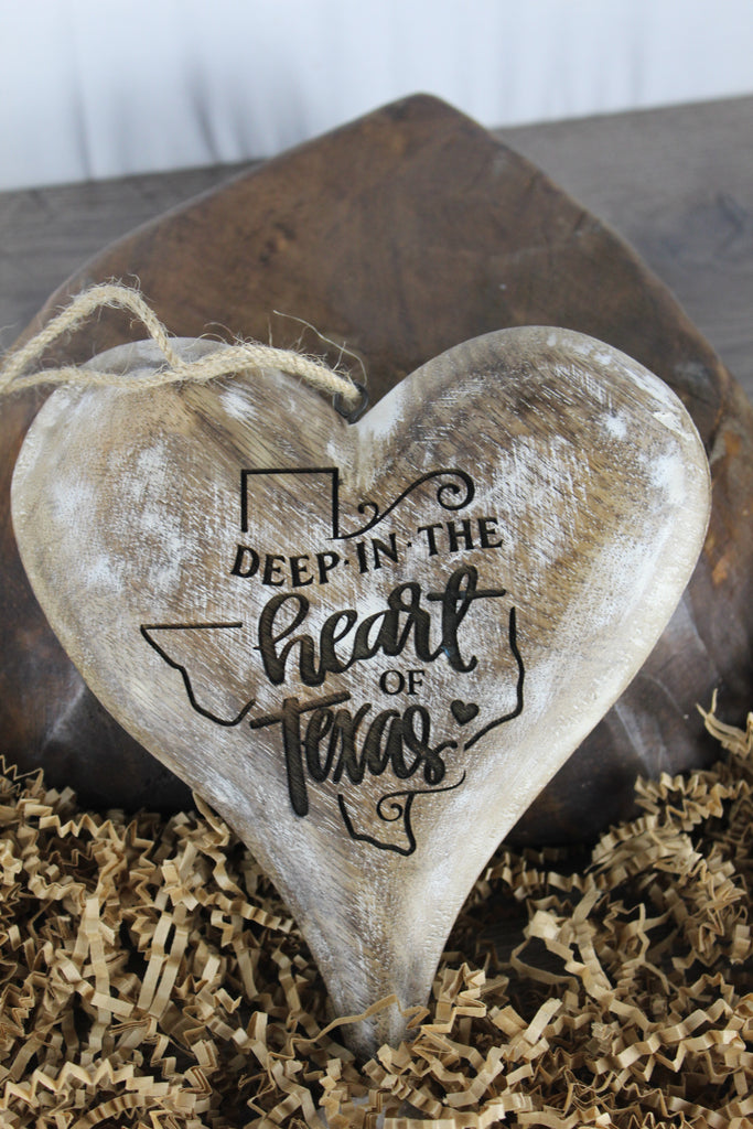 Hangable Heart Deep In The Heart Of Texas White Washed