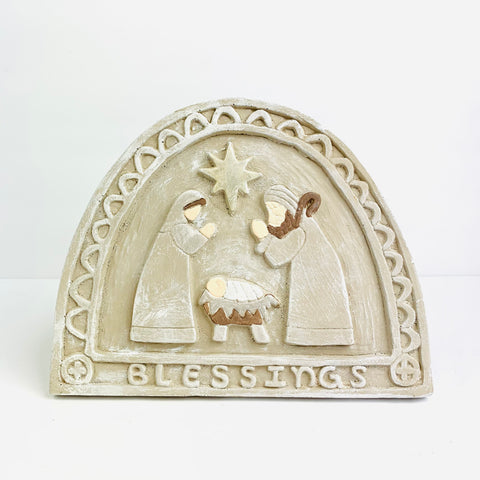 Decorative Plaque with Nativity Scene in Driftwood