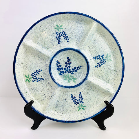 Relish Dish with Bluebonnets Design