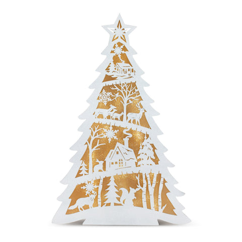 Lit Santa Scene Tree Figure