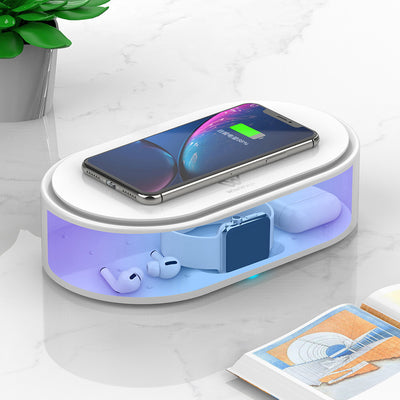 WiseWater UV Cell Phone Sanitizer, Wireless Charger Multi-Function Disinfection Box, Fast Charging for Smart Phone, UV Sterilizing Box for Cell Phone, Jewelry, Watches, Glasses