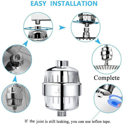 9-Stage Shower Filter for Preventing Hair Loss,with 2 Replacement Cartridges-Hard Water, Reducing Chlorine, Heavy Metals & Toxins, Chrome