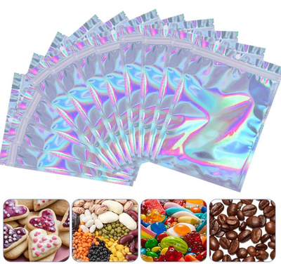 Foil Pouch bags, Smell Proof Bag Flat Ziplock Bag with Resealable Clear Ziplock BPA Free(100 PCS)