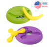 2 in 1 Dog Frisbee, Flying Disc for Dog Training, 9inch Purple & Green (2 Pack)