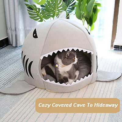 WiseWater Dog Cat Bed, Washable Shark Pet House with Removable Cushion and Waterproof Bottom for Small Medium Dog Cat Puppies