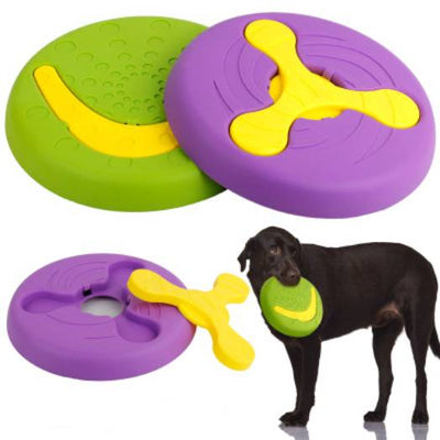2 in 1 Dog Frisbee,Tough Training Flying Disc Play Toy for Dog, 9inch Purple Green(2 Pack)