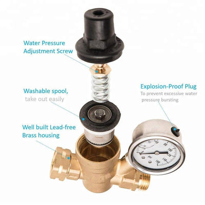 "Adjustable Water Pressure Regulator with Gauge and Filter, Brass Lead-Free 3/4"" NH Thread for Camper, RV Trailer - Alfa Heating Supply"