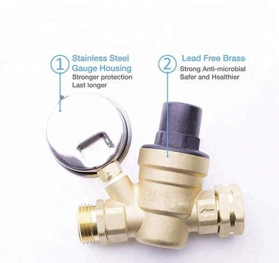 "Adjustable Water Pressure Regulator with Gauge and Filter, Brass Lead-Free 3/4"" NH Thread for Camper, RV Trailer"