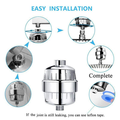 Multi Stage Shower Filter for preventing Hair Loss,with 2 replacement cartridges for hard water, reducing Chlorine, Heavy Metals & Toxins, Chrome