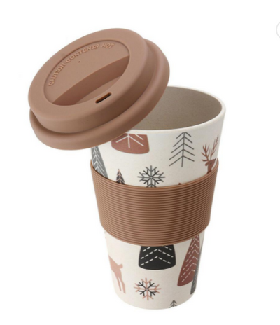 Portable Travel Heat Resistance Reusable Bamboo Fiber Coffee Cup with Silicone Lid
