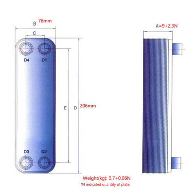 Plate Heat Exchanger BL14 for Air Dryers 99.9% Copper Brazed