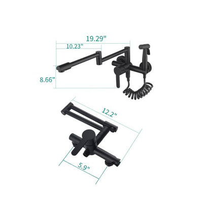 Kitchen Faucet with Sprayer, Single Handle Kitchen Sink Faucet Rotatable  Wall-Mount Taps, Modern Black