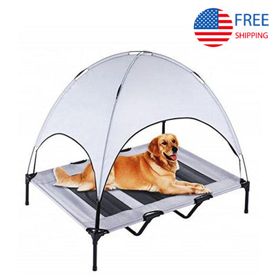WiseWater Dog Bed with Canopy, X Large Elevated Pet Cot, Durable Pet Bed With Travel Bag, Portable for Camping or Beach, Indoor and Out Door Use