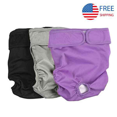 Washable Dog Diapers, Reusable Diaper Pads for Doggie, Female Dog Diapers 3 PCS