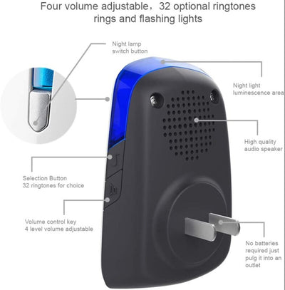Wireless DoorBell IP44 Waterpoof Doorbell Chime Operating at 500 Feet with 32 Melodies, 4 Volume Levels & LED Flash 1 push button & 1 receiver (Size 1) - Alfa Heating Supply
