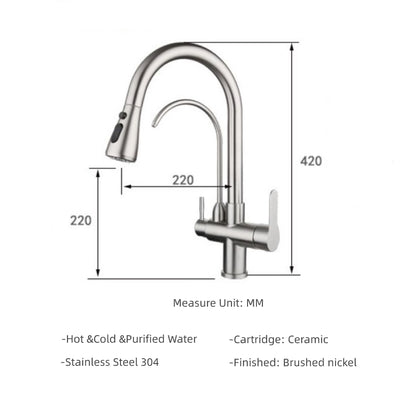 Wisewater Kitchen Faucet with Pull Down Sprayer, Dual Handle High Arc Water Filter Purifier Faucets Brushed Nickel, Lead-Free, Silver